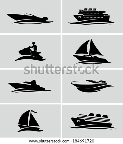 Boats and ships icons - stock vector
