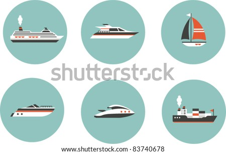 Boats icons - stock vector