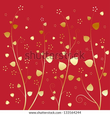 Bodhi leaves of gold. On a red background. - stock vector