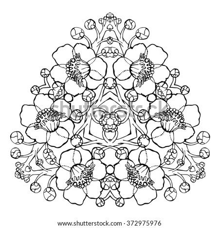 Coloring Page Fig Tree. Bodhi Tree mandala large flowers of sacred fig tree Indian plant  buddhism enlightenment symbol spiritual Mandala Large Flowers Sacred Stock Vector 372975976