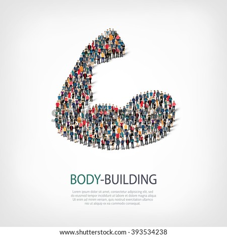 body-building fitness people - stock vector