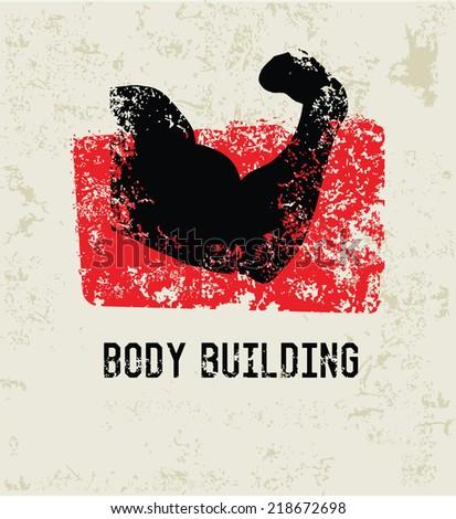 Body building grunge symbol,grunge vector - stock vector