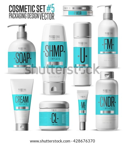 Body care professional series cosmetic brand concept. Tube cream, soap bottle, shampoo packing. Body care vector template. Realistic cosmetic packaging isolated on white background. Cosmetic brand set