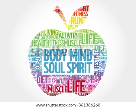 Body Mind Soul Spirit apple word cloud, health concept - stock vector