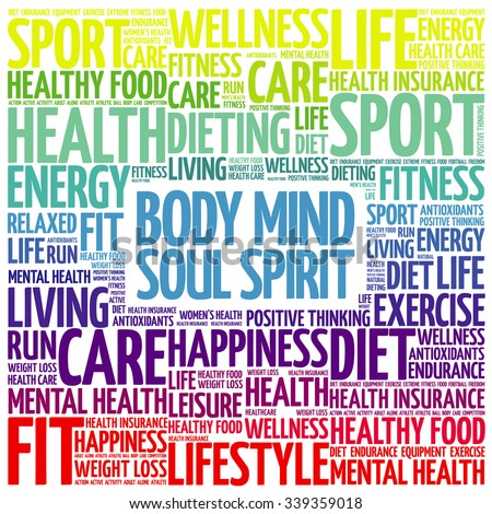Body Mind Soul Spirit word cloud background, health concept - stock vector