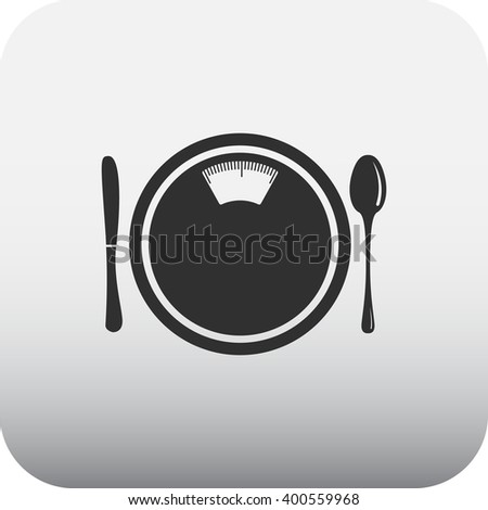 Body scales plate spoon fork sign black simple icon on  background