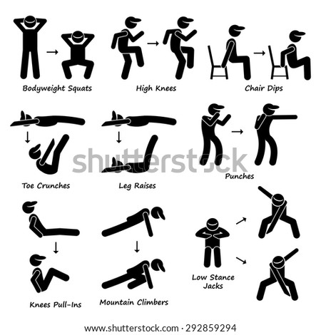 Body Workout Exercise Fitness Training (Set 2) Stick Figure Pictogram Icons - stock vector