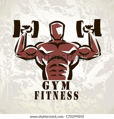 bodybuilder, athlete exercising symbol - stock vector
