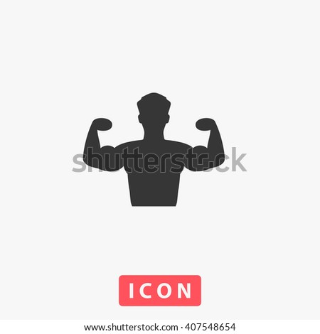 Bodybuilder Fitness Model. Grey flat simple icon - stock vector