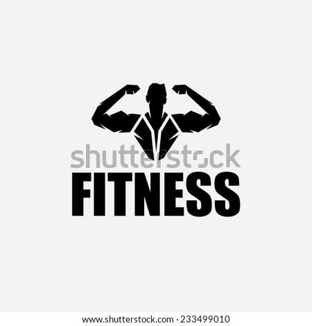 Bodybuilder Fitness Model silhouette vector design template - stock vector