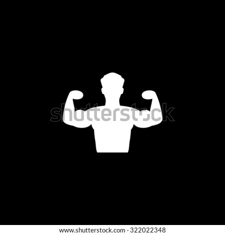 Bodybuilder Fitness Model. Simple flat icon. Black and white. Vector illustration - stock vector