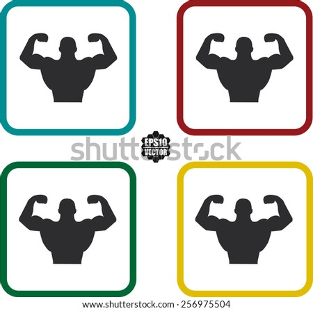 Bodybuilder Fitness Model  Symbol And Icons Set On White Background And Colorful Border. Vector illustration. - stock vector