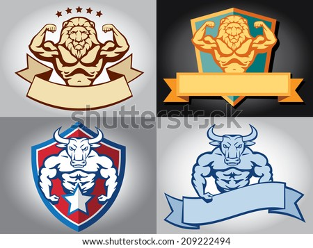 Bodybuilder FitnessClub Vector Illustration, Sign, Symbol, Button, Badge, Icon, Logo - stock vector