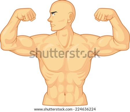 Bodybuilder Flexing Muscles - stock vector