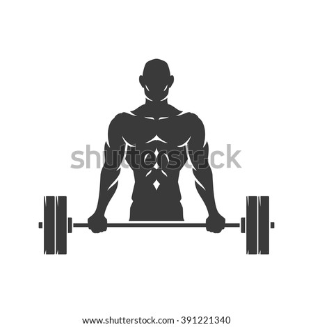 Bodybuilder Logo Template. Vector object and Icons for Sport Label, Gym Badge, Fitness Logo Design, Emblem Graphics.Sport Symbol, Exercise Logo, Man Holding Barbell Silhouette. - stock vector