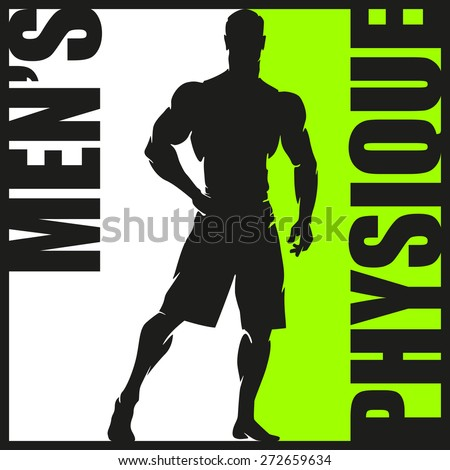Bodybuilder Muscular Man Silhouette Lifting Weights. Fitness icon. Body building pectoral gym logo