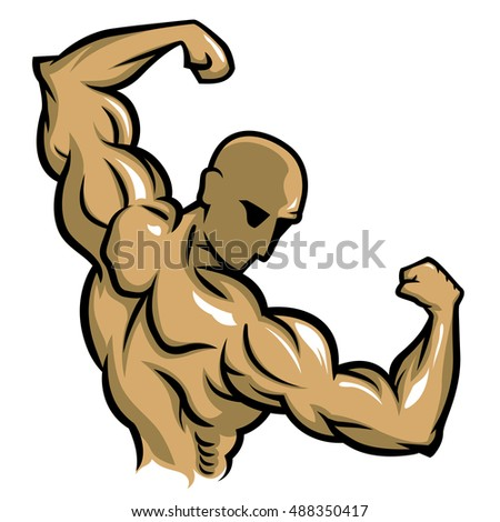 bodybuilder pose Back Double Biceps simple vector line and color.