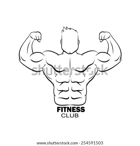 Bodybuilder silhouette abstract, vector illustration