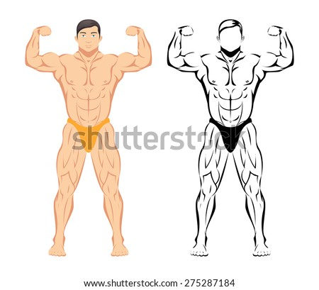 Bodybuilder. Sport and fitness, muscle body, bodybuilding healthy, sketch and colored drawing. Vector illustration - stock vector