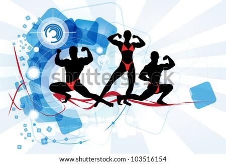 Bodybuilder team - stock vector