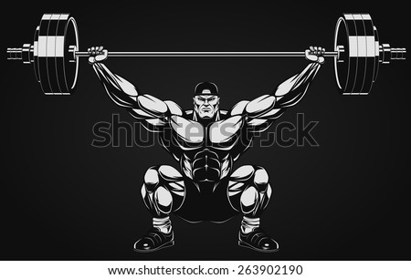 Bodybuilder with a barbell - stock vector