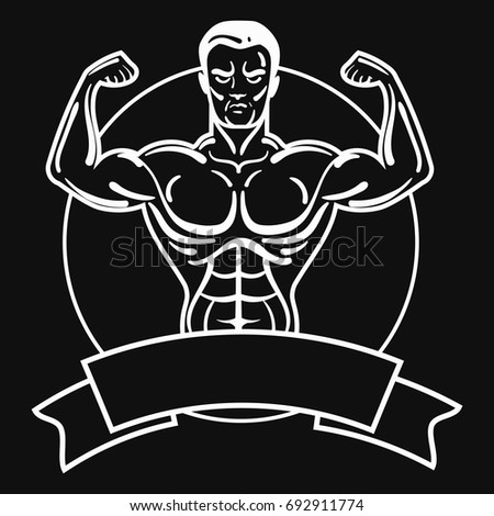 Bodybuilder with a sporty physique. A man with muscular muscles. Black and white athlete logo. Sports emblem. Master of mixed martial arts. Winner.