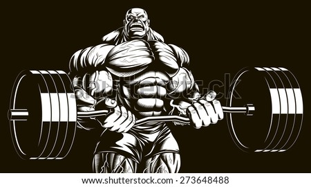 Bodybuilder with barbell  - stock vector