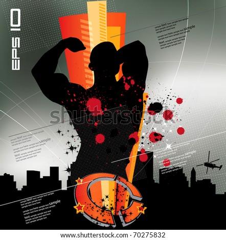 Bodybuilder with city in background - stock vector