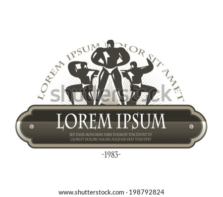 Bodybuilders. Vector format - stock vector