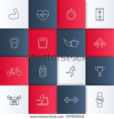 bodybuilding, gym, workout line icons, vector illustration, eps10, easy to edit - stock vector