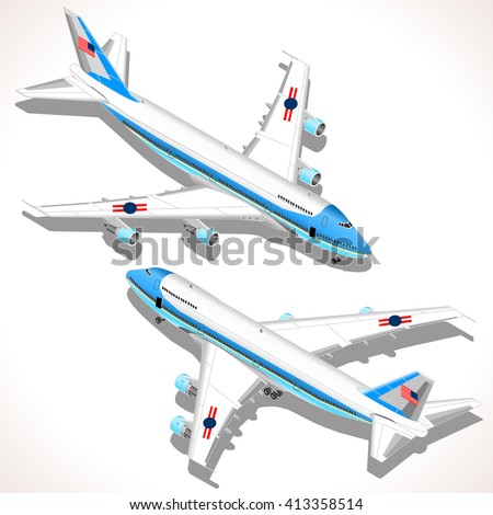 Boeing aircraft. Flat 3D isometric airplane vehicles. Plane Infographic elements. Landed Airplane in Airport. Armed Forces Military Airplane Isolated. Presidential Air Force One Vector Illustration. - stock vector