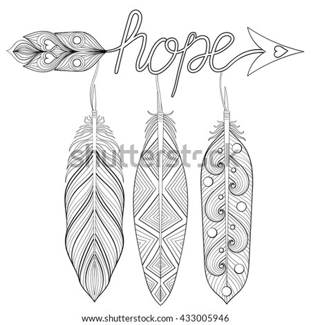 Bohemian Arrow Hand Drawn Amulet Letters Stock Vector