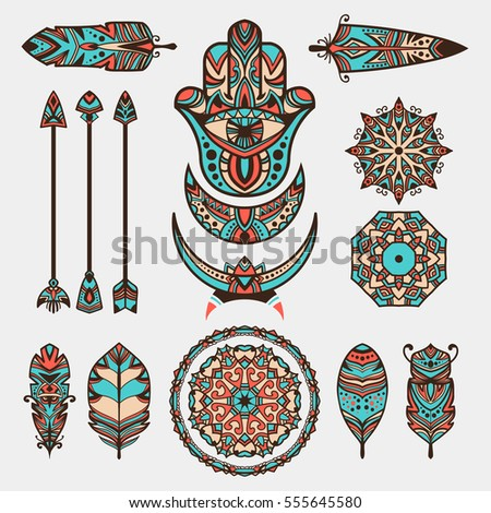 Bohemian decorative symbols. Hamsa, arrows, feathers, moons, mandalas. Set of tribal, esoteric and boho elements. Boho concept bunch.