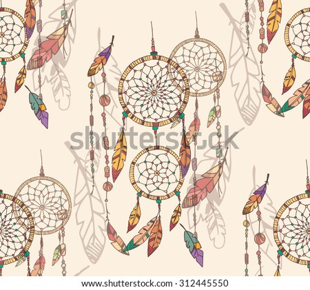 Bohemian dream catcher with beads and feathers, seamless pattern, hand drawn, vector illustration - stock vector