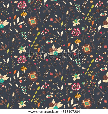 Bohemian hand drawn flowers, seamless pattern, vector illustration - stock vector