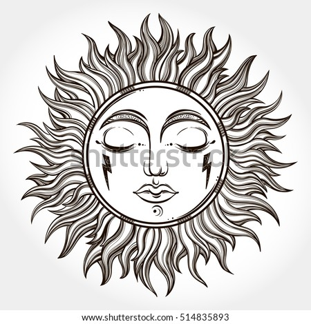 Bohemian Hand Drawn Sun Vector Illustration For Coloring Book T Shirts Design