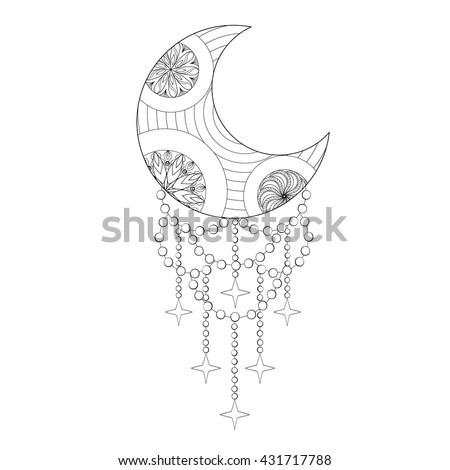 Bohemian Moon, Hand drawn Zentangle artistic elements for adult coloring pages, art therapy, ethnic patterned t-shirt print, Boho tribal style. Isolated illustration in doodle, henna tattoo design. - stock vector