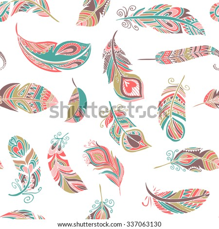 Bohemian style feathers seamless pattern - stock vector