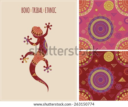 Bohemian, Tribal, Ethnic background with lizard icon and patterns  - stock vector