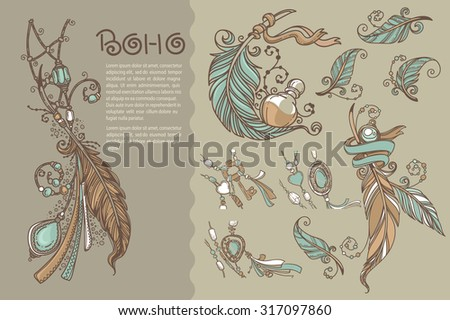 Boho chic, collection of vector hand drawn elements - stock vector