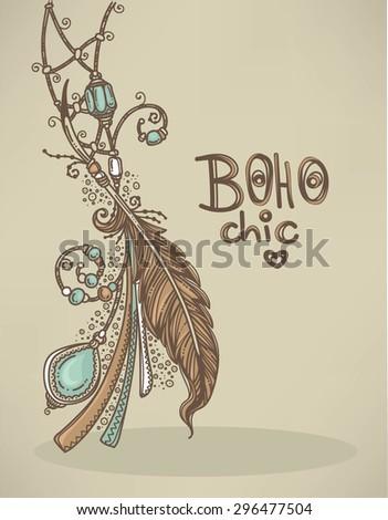 Boho chic, hand drawn background - stock vector