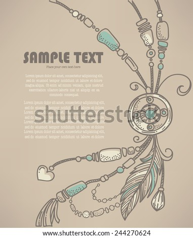 boho chic, vector hand drawn background - stock vector