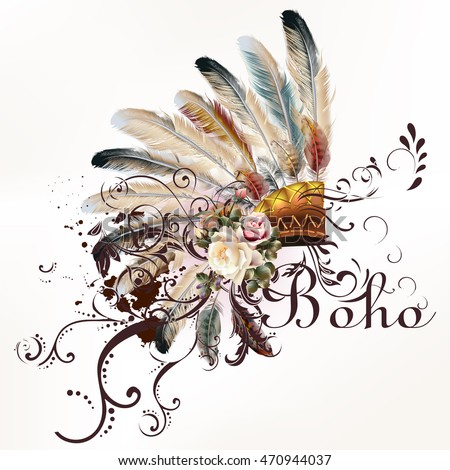 Boho Illustration With Headdress From Feathers Tribal Vector Background Ideal For T Shirt Prints