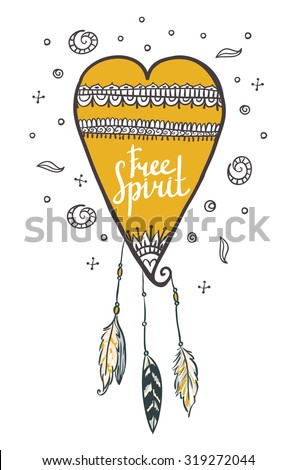 Boho style background. Vector illustration.Heart with feathers. Free spirit card. - stock vector
