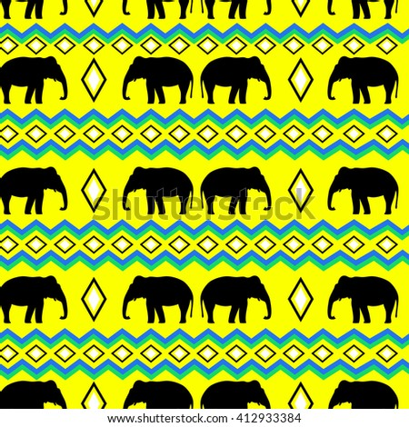 Boho style pattern, elephant pattern, tribal  - stock vector