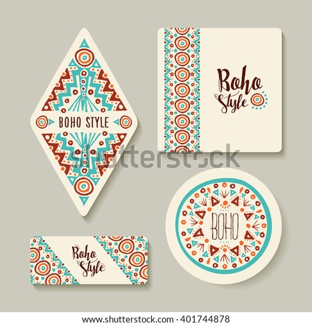 Boho style printable tags with tribal handmade designs. Different label templates for shop or decoration. EPS10 vector. - stock vector