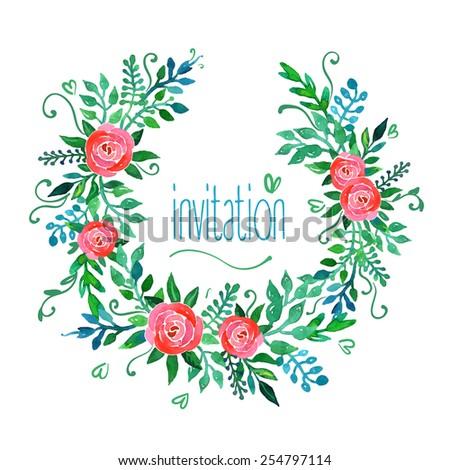 Boho style wedding invitation template. Watercolor illustration. - stock vector