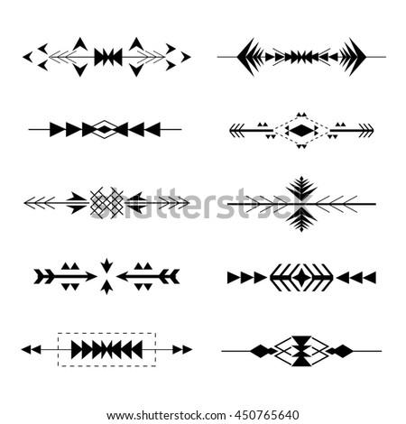 Boho tribal Aztec ethnic style borders set. Vector illustration - stock vector