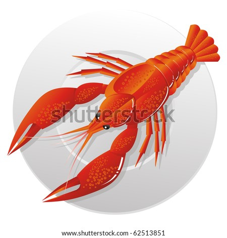 Boiled crawfish on snack to beer - stock vector