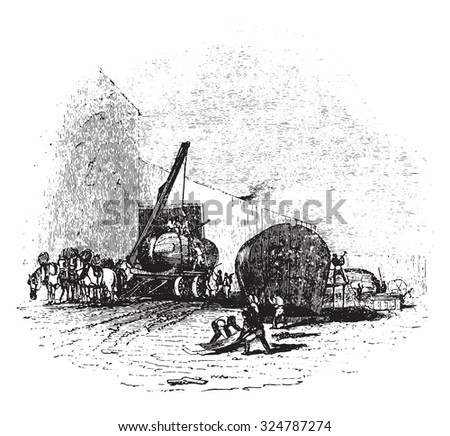 Boiler manufactory, vintage engraved illustration.